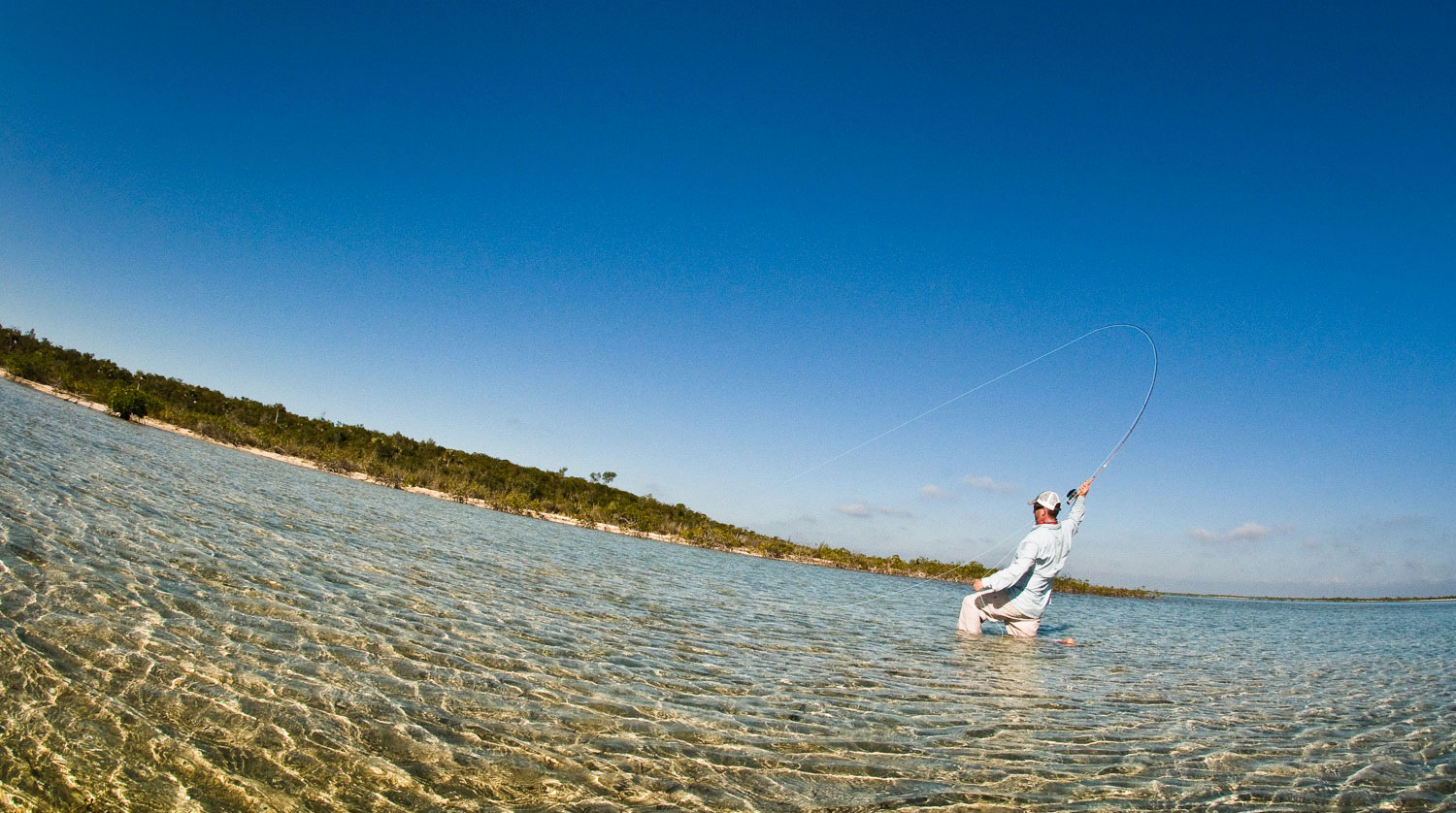 Bruce Chard hooks a spooky bonefish Photo by Louis Cahill