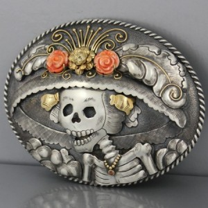 Mona-Van-Riper-Catrina-Day-of-the-Dead-Sterling-and-18K-Gold-Belt-Buckle-10-450x450
