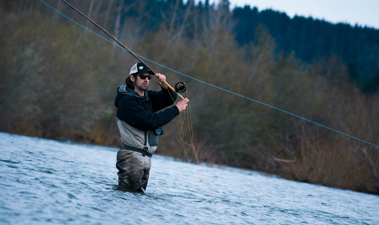 Spey casting with the non dominant hand on top fly for Fly fishing casting techniques