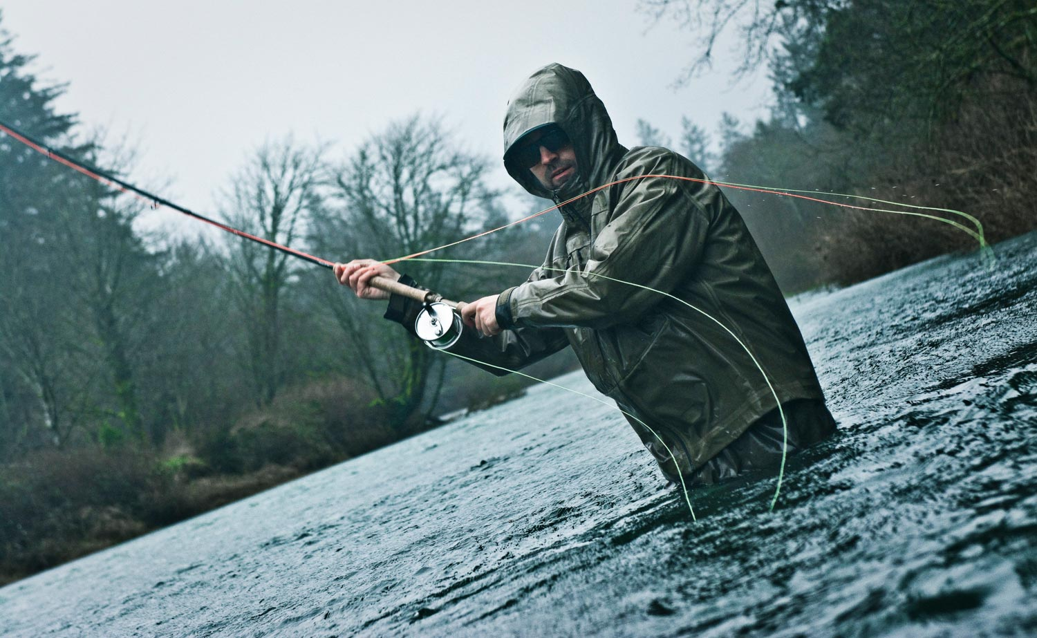 Hickman casting in the gale. Photo Louis Cahill