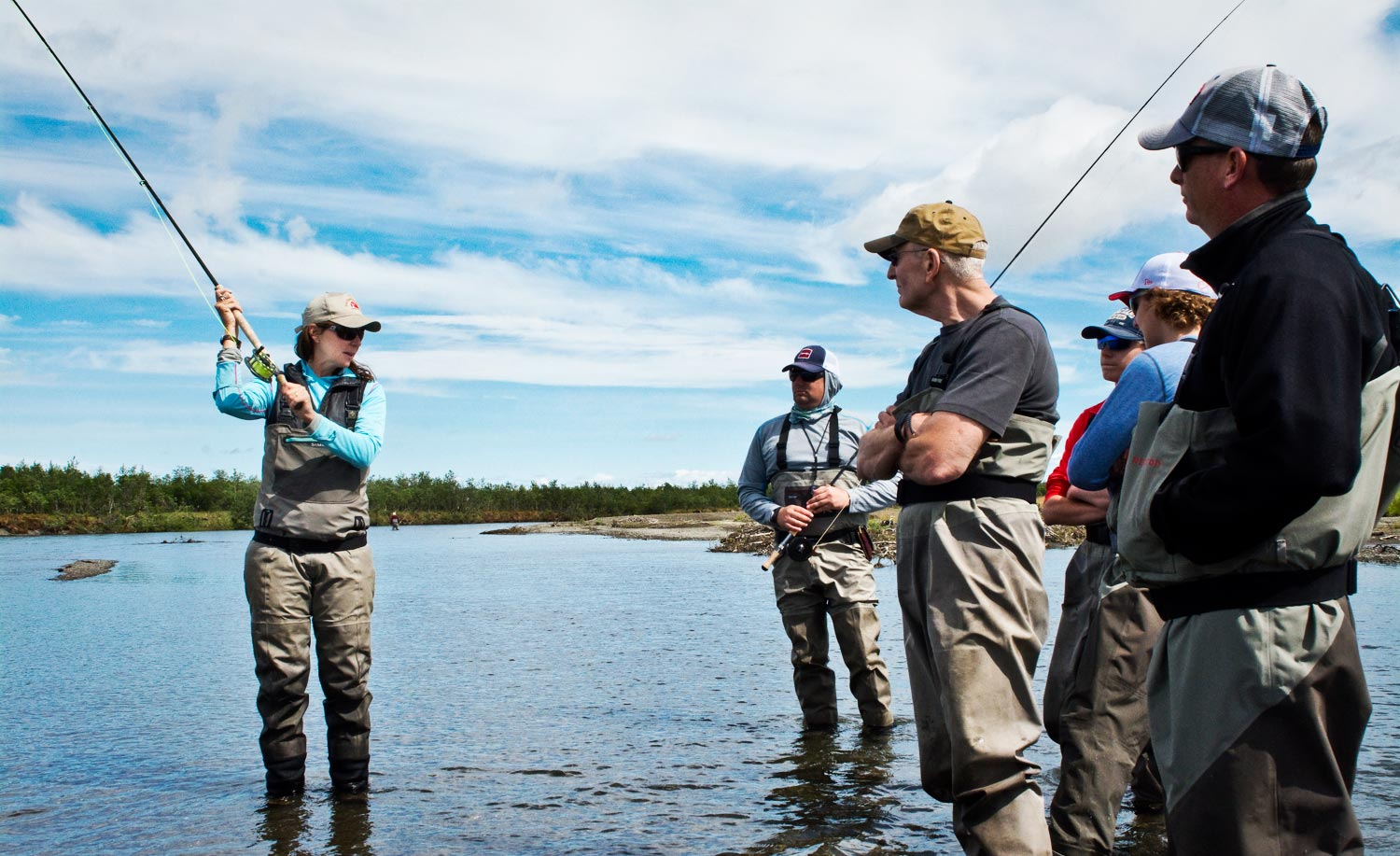 Whitney Gould teaching spey casting at AK West